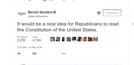 Bernie Sanders on Twitter_ _It would be a nice idea for Republicans to read the Constitution of the United States_001